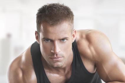 Muscular fit male model portrait