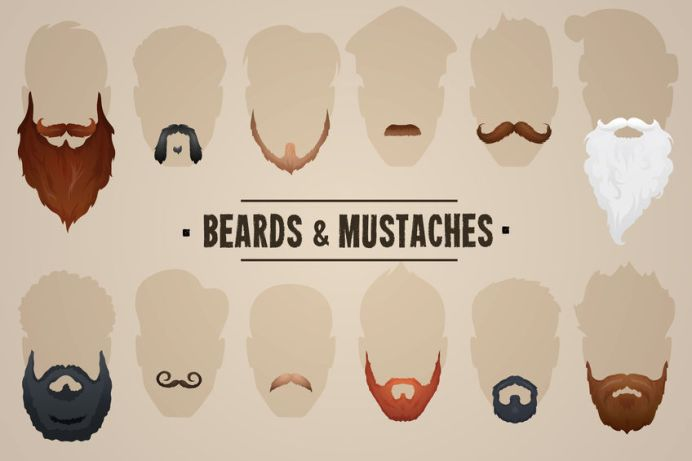 36250797 - beards and mustaches, different types. vector illustration