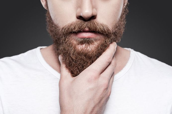 32264149 - touching his perfect beard. close-up of young bearded man touching his beard while standing against grey background